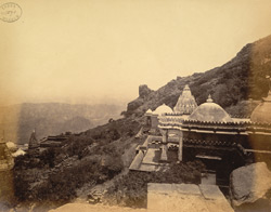 View from above looking north of the Jain temples at Girnar Hill, near Junagadh